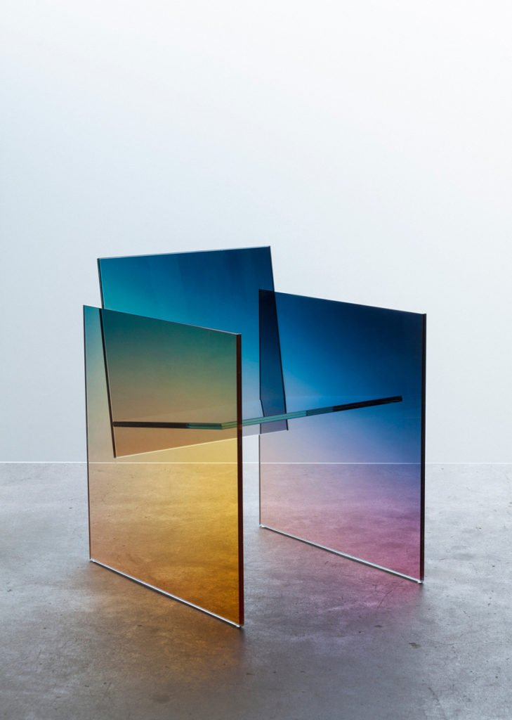 Iridescence, Ombr glass chair by German Ermics