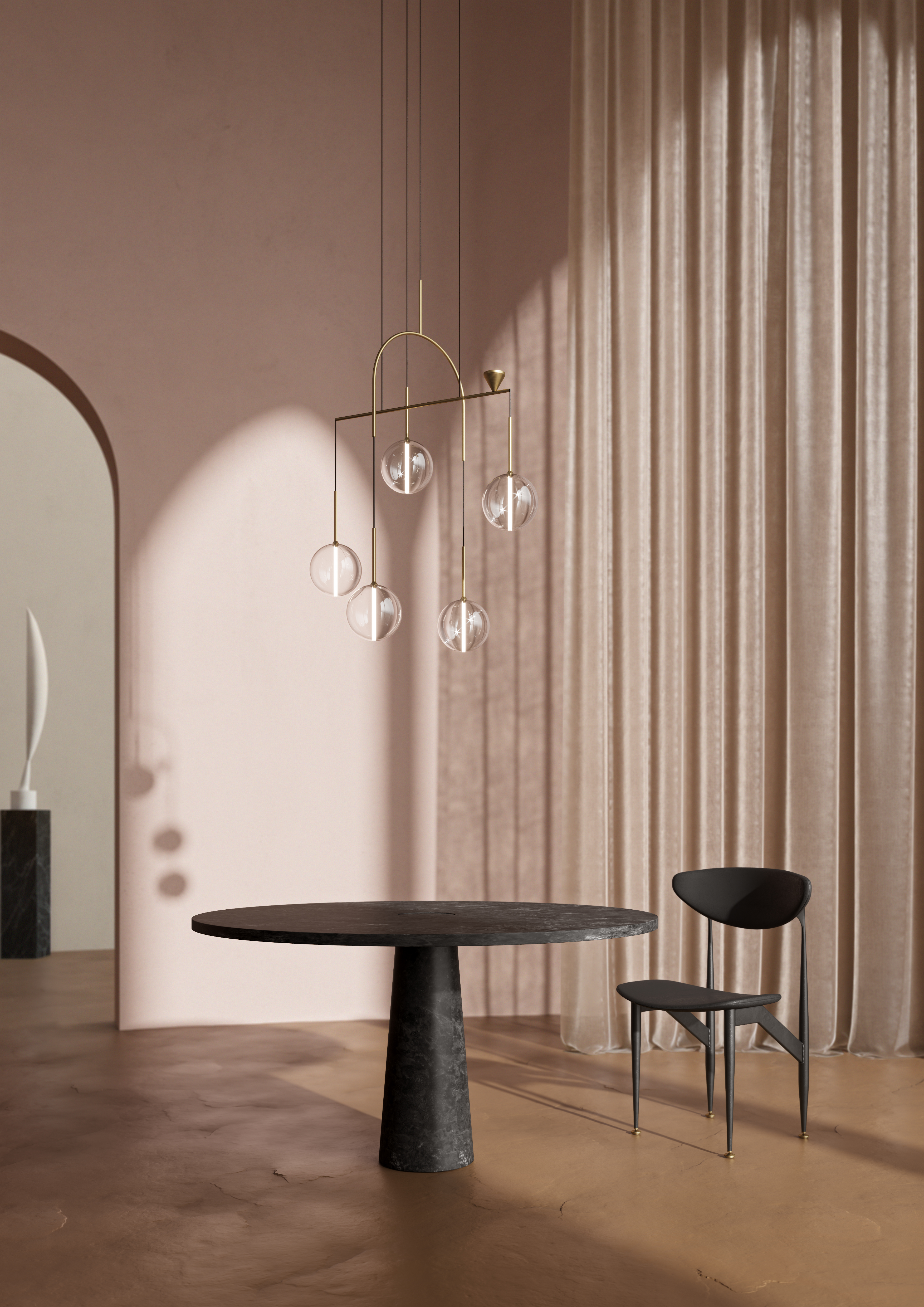 On the occasion of Maison&Objet 2019, design duo Giapato&Coombes has presented the Dewdrops brass pendant light.