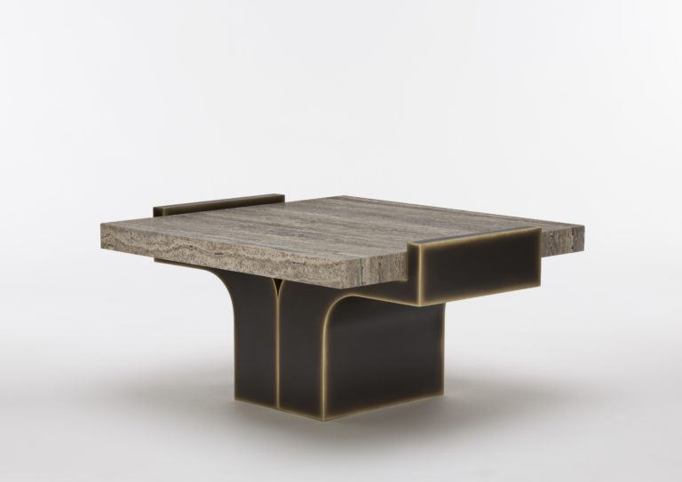 On the occasion of Maison&Objet and Paris Déco Off 2019, designer Stéphane Parmentier designed a travertine coffee table for Pouenat.