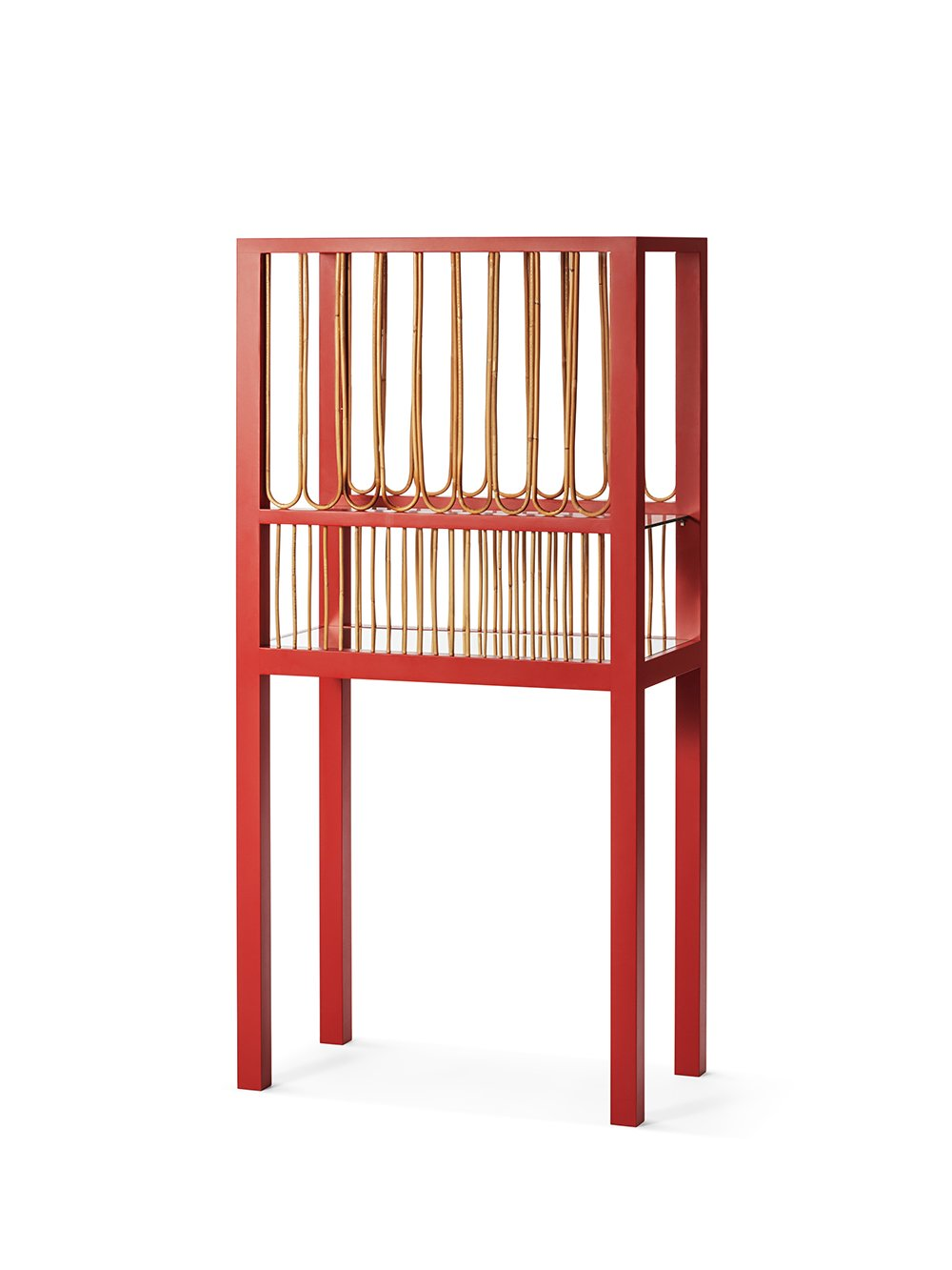 Wooden, rattan and glass Red Cabinetat 3daysofdesign